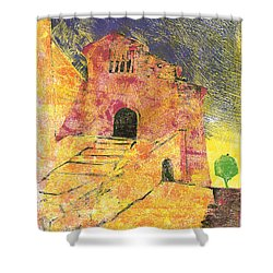 Shower Curtain featuring the painting Banon Village In Provence by Martin Stankewitz