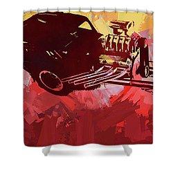 Bantam Dragster Pop Red Shower Curtain