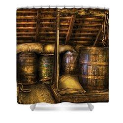 Bar - Wine Barrels Shower Curtain by Mike Savad