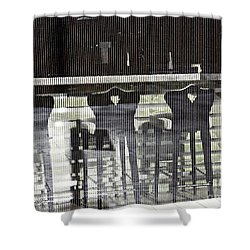 Shower Curtain featuring the photograph Bar And Stools by Sarah Loft