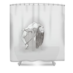 Shower Curtain featuring the mixed media Bar Chair Bw by TortureLord Art