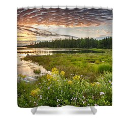 Shower Curtain featuring the photograph Bar Harbor Maine Sunset One by Kevin Blackburn