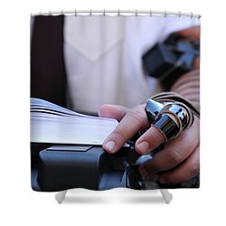 Bar Mitzvah Celebration With Tefillin  Shower Curtain by Yoel Koskas