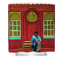 Bar Mitzvah Lesson At The Synagogue Shower Curtain by Carole Spandau