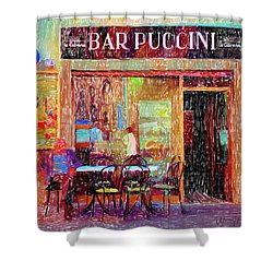 Bar Puccini Lucca Italy Shower Curtain by Wally Hampton
