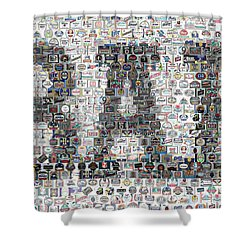 Shower Curtain featuring the mixed media Bar Sign Beer Label Mosaic by Paul Van Scott