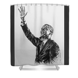Shower Curtain featuring the painting Barack Obama by Darryl Matthews