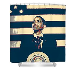 Barack Obama With American Flag 4 Shower Curtain