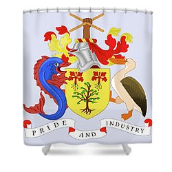 Barbados Coat Of Arms Shower Curtain by Movie Poster Prints