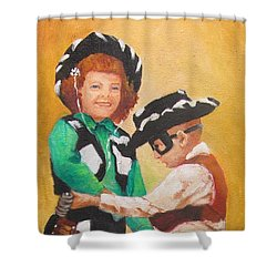Barbara And Buddy Playing Cowboys Shower Curtain