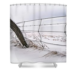 Barbed Wire And Hoar Frost Shower Curtain by Dan Jurak
