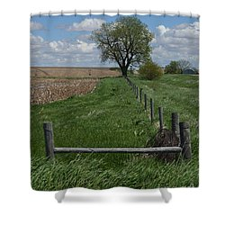 Barbed Wire Fence Line Shower Curtain