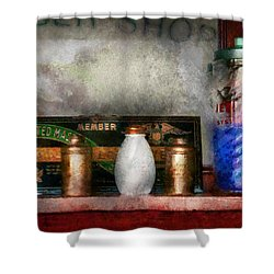 Barber - Things You Stare At  Shower Curtain by Mike Savad