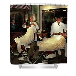 Shower Curtain featuring the photograph Barber - A Time Honored Tradition 1941 by Mike Savad