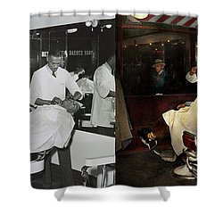 Shower Curtain featuring the photograph Barber - A Time Honored Tradition 1941 - Side By Side by Mike Savad