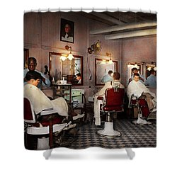 Shower Curtain featuring the photograph Barber - Senators-only Barbershop 1937 by Mike Savad