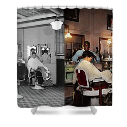Shower Curtain featuring the photograph Barber - Senators-only Barbershop 1937 - Side By Side by Mike Savad