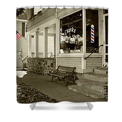 Clarks Barber Shop With Color Shower Curtain