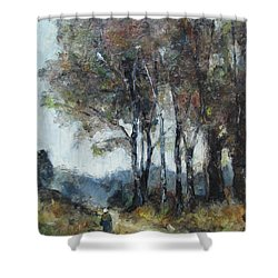 Shower Curtain featuring the painting Barbizon Road by Debora Cardaci