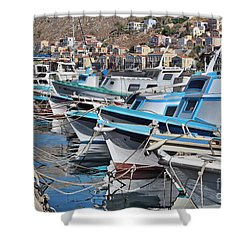 Harbour Of Simi Shower Curtain by Wilhelm Hufnagl