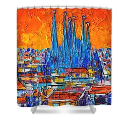 Barcelona Abstract Cityscape 7 - Sagrada Familia Shower Curtain