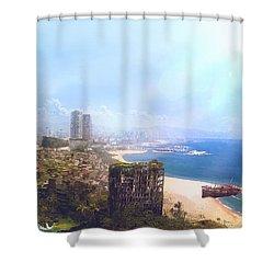 Barcelona Aftermath La Barceloneta Shower Curtain by Guillem H Pongiluppi