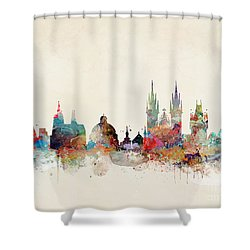 Shower Curtain featuring the painting Barcelona City Skyline by Bri B