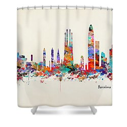 Barcelona City Skyline Shower Curtain