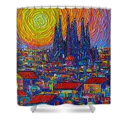 Barcelona Colorful Sunset Over Sagrada Familia Abstract City Knife Oil Painting Ana Maria Edulescu Shower Curtain