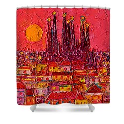 Barcelona Moon Over Sagrada Familia - Palette Knife Oil Painting By Ana Maria Edulescu Shower Curtain