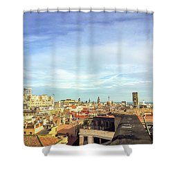 Shower Curtain featuring the photograph Barcelona Rooftops by Colleen Kammerer