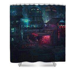 Barcelona Smoke And Neons Eixample Shower Curtain