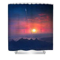 Barcelona Smoke And Neons Montserrat Shower Curtain by Guillem H Pongiluppi