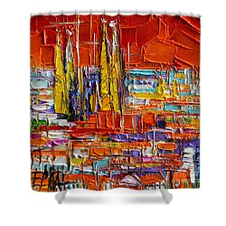 Barcelona View From Parc Guell - Abstract Miniature Shower Curtain