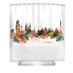 Barcelona Watercolor Skyline Shower Curtain by Marian Voicu
