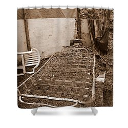 Shower Curtain featuring the photograph Bare Bones Miners Camp by Marie Neder