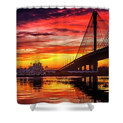 Barge And Toe Going Under The Clark Bridge, Alton, Il Shower Curtain by Garry McMichael