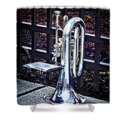 Baritone Horn Before Parade Shower Curtain