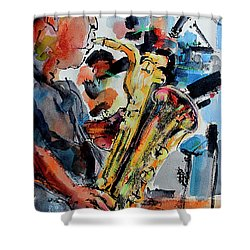 Baritone Saxophone Mixed Media Music Art Shower Curtain