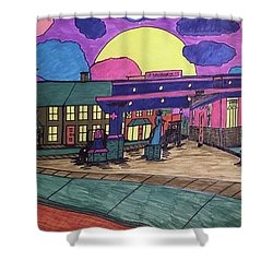 Shower Curtain featuring the drawing Barkhausen Filling Station. by Jonathon Hansen