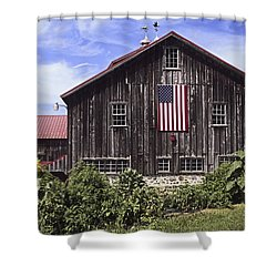 Barn And American Flag Shower Curtain by Sally Weigand