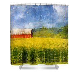 Shower Curtain featuring the digital art Barn And Cornfield by Francesa Miller