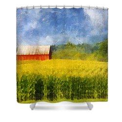Barn And Cornfield Shower Curtain by Francesa Miller