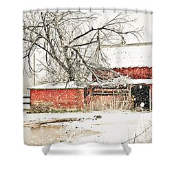 Barn And Pond Shower Curtain by Marilyn Hunt