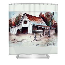 Shower Curtain featuring the painting Barn by Denise Fulmer