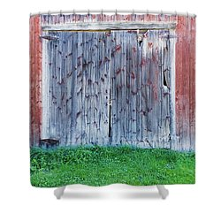 Shower Curtain featuring the photograph Barn Door by Tom Singleton