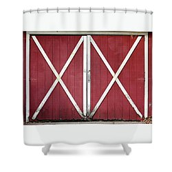 Shower Curtain featuring the photograph Red Barn Doors by Sheila Brown