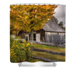 Barn In Autumn Shower Curtain by Joann Vitali