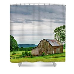 Shower Curtain featuring the photograph Barn In Bliss Township by Bill Gallagher