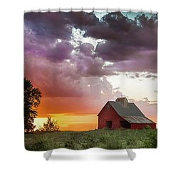 Barn In Stormy Skies Shower Curtain